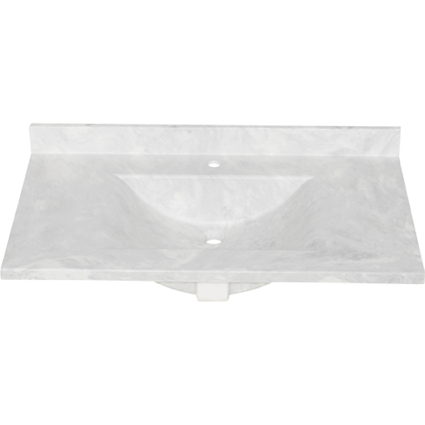 37-in L X 22-in H X 6.25-in H Swan CV02237.130 Contour Solid Surface Single-Bowl Vanity Top Ice