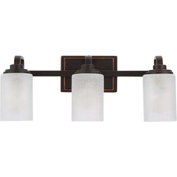 Hampton Bay 3 Light Oil Rubbed Bronze Vanity Light With Frosted Patterned Glass Shade Wb1001 Vf The Home Depot